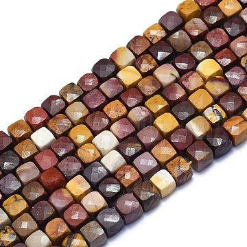 Natural Mookaite Beads Strands, Cube, Faceted, 6~6.5x6~6.5x6~6.5mm, Hole: 1mm; about 58pcs/Strand, 15.55 inches(39.5cm)(G-K310-B12)
