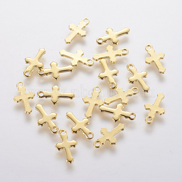 304 Stainless Steel Charms, Cross, Golden, 12x7x0.8mm, Hole: 1.2mm(X-STAS-F201-01G)