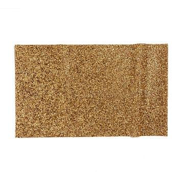 Glitter Resin Hotfix Rhinestone(Adhesive On The Back), Rhinestone Trimming, Costume Accessories, Rectangle, Gold, 39.5x23.5x0.3cm(DIY-WH0166-23C)