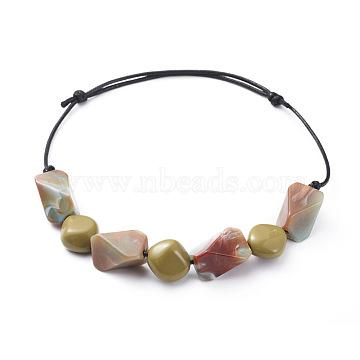 colliers à bretelles réglables, avec des perles acryliques et des cordes en polyester ciré coréen, SaddleBrown, 18.8 24.4 cm)(NJEW-JN02547-02)