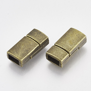 Rectangle Tibetan Style Alloy Magnetic Clasps for Jewelry Making, Antique Bronze, 17x8.5x5.5mm, Hole: 6x2.5mm(X-PALLOY-S023-AB)