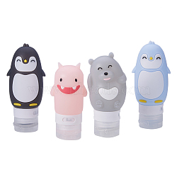 Emboutissage de points de silicone portable créatif, shampooing de douche cosmétique émulsion de stockage bouteille, dessin animé, couleur mixte, 60 ml / 80 ml / 90 ml, 4 pièces / kit(MRMJ-BC0001-02)