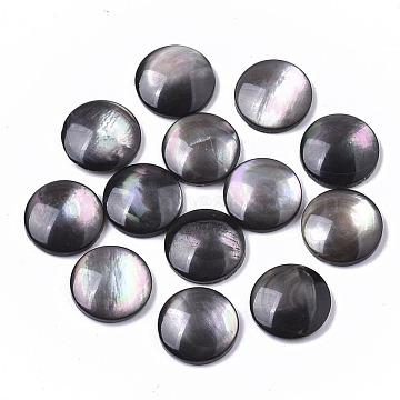 Natural Black Lip Shell Cabochons, Flat Round, Black, 8.5x2mm(X-SHEL-R047-11)