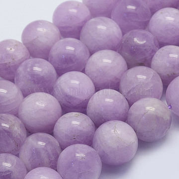 Natural Kunzite Beads Strands, Spodumene Beads, Round, Grade A+, 12mm, Hole: 1mm, about 32pcs/strand, 15.7 inches(40cm)(G-L478-14-12mm)