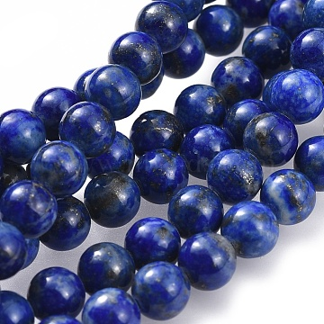 Natural Lapis Lazuli Bead Strands, for DIY Jewelry Making, Round, 6.5mm, Hole: 1mm, about 58~63pcs/strand, 15.5 inches(395mm)(X-G-G953-01-6mm)