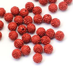 Perles rondes de cinabre, firebrick, 10mm, Trou: 1~2mm(CARL-Q003-09)
