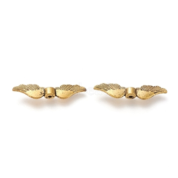 Rose Gold Plated Alloy Beads, Long-Lasting Plated, Wing, Antique Golden, 36x8x5mm, Hole: 1mm(PALLOY-J169-62AG)