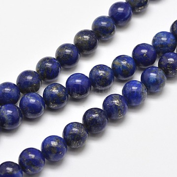 Natural Lapis Lazuli Round Bead Strands, 6mm, Hole: 1mm, about 62pcs/strand, 15.5 inches(X-G-E262-01-6mm)