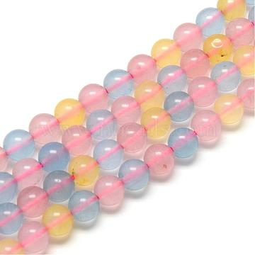 Morganite Round Bead Strands, Dyed, 10mm, Hole: 1mm; about 38pcs/strand, 14.9 inches(G-R342-10mm-20)