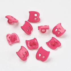 Boutons en acrylique, 1-trou, teint, lettre b, mediumvioletred, 14x13x2mm, Trou: 3mm(X-BUTT-E029-07)