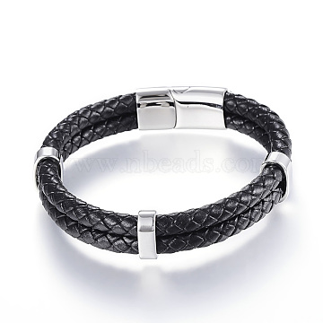 Braided Leather Cord Mkulti-strand Bracelets, with 304 Stainless Steel Magnetic Clasp, Black, 8-5/8 inches(220mm)x12~15x6~9mm(X-BJEW-K141-13)