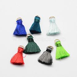 nylon cordon pendentif pompon décorations, avec les résultats en laiton de tonalité d'or, couleur mélangée, 20 mm, trou: 4x2 mm(X-HJEW-K002-M)