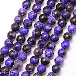 Natural Fire Agate Bead Strands, Round, Grade A, Faceted, Dyed & Heated, Indigo, 8mm, Hole: 1mm; about 47pcs/strand, 15