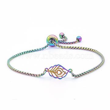 """Bracelets réglables en 201 acier inoxydable, bracelets bolo, avec des chaînes de boîte, feuille, multicolore, 9-5/8"""" (24.5 cm)(STAS-S105-JN658)"""