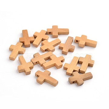 Wood Pendants, Cross Pendants, Lead Free, Camel, 22x14x4mm, Hole: 1.8~2mm(X-WOOD-S029-LF)