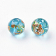 Flower Painted Glass Beads(GLAA-E399-8mm-B02)-1