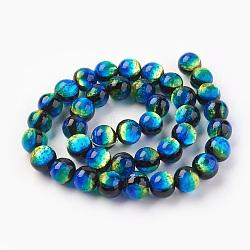 Argent à la main feuille perles de verre au chalumeau, rond, dodgerblue, 10mm, Trou: 1.2mm(X-LAMP-P051-M02-10mm)