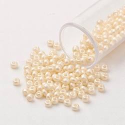 Perles de rocaille en verre 11 / 0 fgb®, Grade A, arrondir, couleur de coquillage, 2.3x1.5 mm, trou: 1 mm; environ 5300 pcs / 50 g(X-SEED-N001-A-1034)