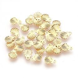 304 pendentifs en acier inoxydable, pour la fabrication de bijoux de bricolage, coquille, or, 7.5x5.5x0.5 mm, trou: 0.8 mm