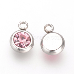 303 Stainless Steel Rhinestone Charms, Flat Round, Light Rose, 8.5x6x3mm, Hole: 1.5mm