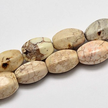 Faceted Oval Natural Magnesite Beads Strands, Creamy White, 12x9mm, Hole: 1mm; about 33pcs/strand, 15.7 inches(G-M138-30)