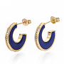 Brass Micro Pave Cubic Zirconia Stud Earrings, Half Hoop Earrings, with Enamel and Ear Nuts, Moon, Letter C, Real 18K Gold Plated, Blue, 21x17x3mm, Pin: 1mm