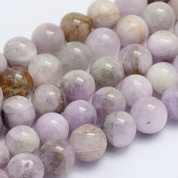 Natural Kunzite Beads Strands, Spodumene Beads, Round, Grade AB, 8~8.5mm, Hole: 1mm; about 51pcs/strand, 15.7inches(40cm)(G-L478-11-8mm)