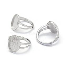 Composants de bague réglables en 925 argent sterling, ovale, Platine plaqué réel, plateau: 10x14 mm; 17 mm(STER-E061-12P)