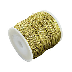 1mm Jewelry Braided Thread Metallic Cords, Polyester Cords, Goldenrod, 1mm, about 109.36 yards(100m)/roll(MCOR-S002-01)