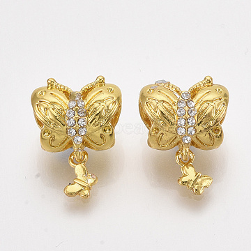 Alloy European Dangle Bead Rhinestone Settings, with Crystal Rhinestone, Large Hole Pendants, Butterfly, Golden, Fit for 0.5mm Rhinestone; 16.5mm, Hole: 5mm(MPDL-S067-69)