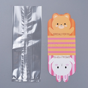 (Defective Closeout Sale), DIY Packaging Bags, with Cute Rabbit and Bear Card Paper, Orange, 22.9x9cm; 21x8.5cm(PE-XCP0001-01)