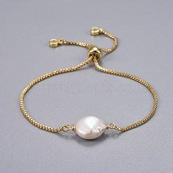 bracelets de curseur en laiton, bracelets bolo, avec des perles de keshi naturelles, blanc, 9 (23 cm); 1.3 mm(X-BJEW-JB04266-02)