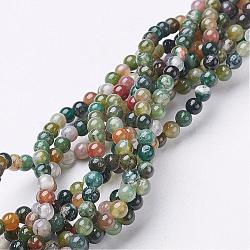 Gemstone Beads Strands, Natural Indian Agate, Round, about 4mm diameter, hole: about 0.8mm, 15~16