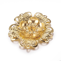 Iron Shoe Buckle Clips, Flower, Golden, 42x6.5mm, Fit: 3mm Rhinestone, 4mm Inner Size(IFIN-G072-08G)