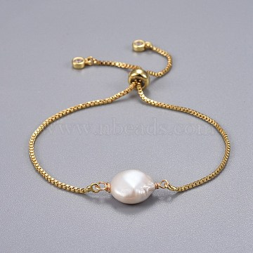 Brass Slider Bracelets, Bolo Bracelets, with Natural Baroque Pearl Keshi Pearl Beads, White, 9 inches(23cm), 1.3mm(X-BJEW-JB04266-02)