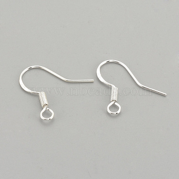925 Sterling Silver Earring Hooks, Earring Parts, For DIY Jewelry Findings, Silver, 17x14mm, Hole: 2mm; Pin: 0.7mm(STER-S002-53)