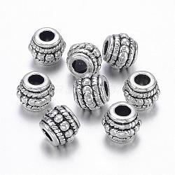 Antique Silver Alloy Tibetan Style Barrel Beads, Lead Free, Cadmium Free and Nickel Free, about 8mm in diameter, 6.5mm thick, hole: 3mm