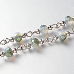 chaînes en perles de verre facettées rondes faites main pour colliers fabrication de bracelets, avec des perles d'espacement en fer et une épingle à oeil en fer, non soudée, platine, darkseagreen, 39.3; à propos de 60 pcs / brin(X-AJEW-JB00123-01)