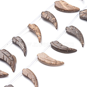 Carved Natural Coconut Beads Strands, Top Drilled, Leaf, Coffee, 23.5~27.5x8~13.5x3.5~4.5mm, Hole: 1mm; about 24pcs/Strand, 17.80 inches(45.2cm)(COCB-K002-01)