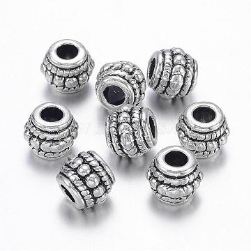 Tibetan Style Alloy Beads, Lead Free, Cadmium Free and Nickel Free, Barrel, Antique Silver, about 8mm in diameter, 6.5mm thick, hole: 3.5mm(X-LF0009Y-NF)