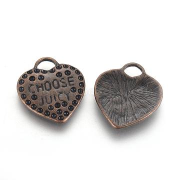 Heart Alloy Pendant Rhinestone Settings, Lead Free & Cadmium Free & Nickel Free, Red Copper, 26mm long,23mm wide,1.5mmthick,hole:4mm(ECC097Y-R)