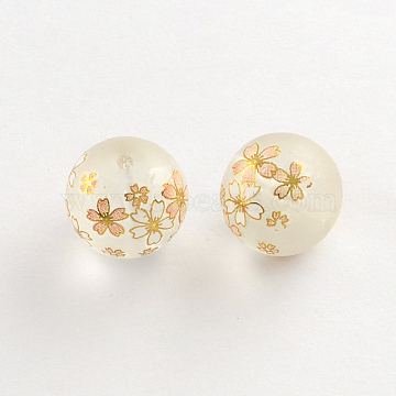 Flower Picture Frosted Transparent Glass Round Beads, with Gold Metal Enlaced, Old Lace, 14x13mm, Hole: 1.5mm(X-GFB-R004-14mm-H12)