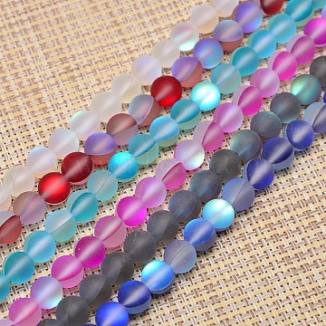 Synthetical Moonstone Beads Strands, Frosted, Dyed, Round, Mixed Color, 6mm, Hole: 1mm; about 64pcs/strand, 15.5 inches(G-M049-6mm-01)