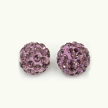 Perles de strass en argile polymère, Perles de boule pavé disco , Grade a, rond, pp 15, améthyste claire, 10mm, Trou: 1.8~2mm(X-RB-C1438-10mm-A10)