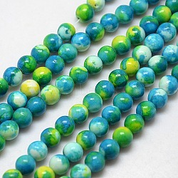 """Chapelets de perles en fossile synthétique, teints et chauffée, rond, bleu foncé, 6mm, trou: 1mm; environ 62 pcs/chapelet, 15.7""""(G-L028-6mm-12)"""