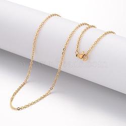 """Création de collier en 304 acier inoxydable, chaînes câblées, avec fermoirs mousquetons, or, 17.72"""" (450 mm); 2mm(STAS-J023-05G)"""
