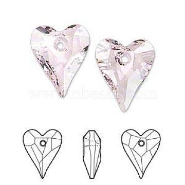 Austrian Crystal Pendants, 6240 Wild Heart, Mother's Day Jewelry Making, 508_Rosaline, 17x14mm(X-SWAR-6240-17MM-508)