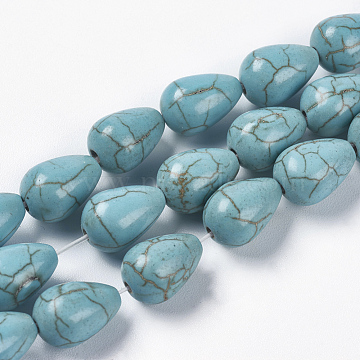 12mm Turquoise Drop Synthetic Turquoise Beads