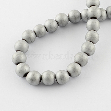 Non-magnetic Synthetic Hematite Beads Strands, Frosted, Grade A, Round Beads for Bracelet Making, Platinum Plated, 6mm, Hole: 1mm; 70pcs/strand, 15.5 inches(X-G-Q933-6mm-03)