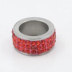 304 perles de colonne en acier inoxydable, avec argile polymère strass, couleur métallique en acier inoxydable, jacinthe, 13x6mm, Trou: 8mm(RB-I065-06)
